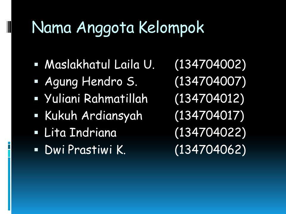 Nama Anggota Kelompok Maslakhatul Laila U. (134704002)