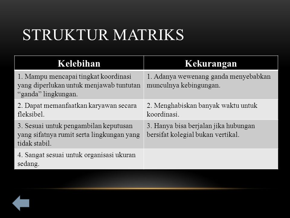 Struktur Matriks Kelebihan Kekurangan