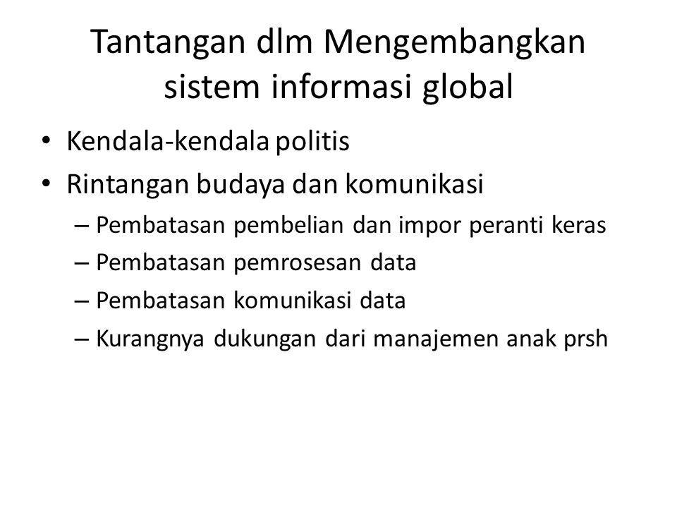 Tantangan dlm Mengembangkan sistem informasi global