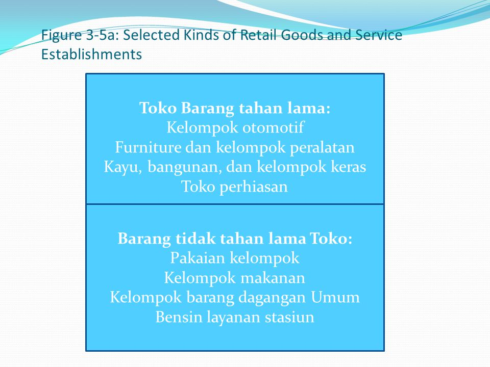 Figure 3-5a: Selected Kinds of Retail Goods and Service Establishments
