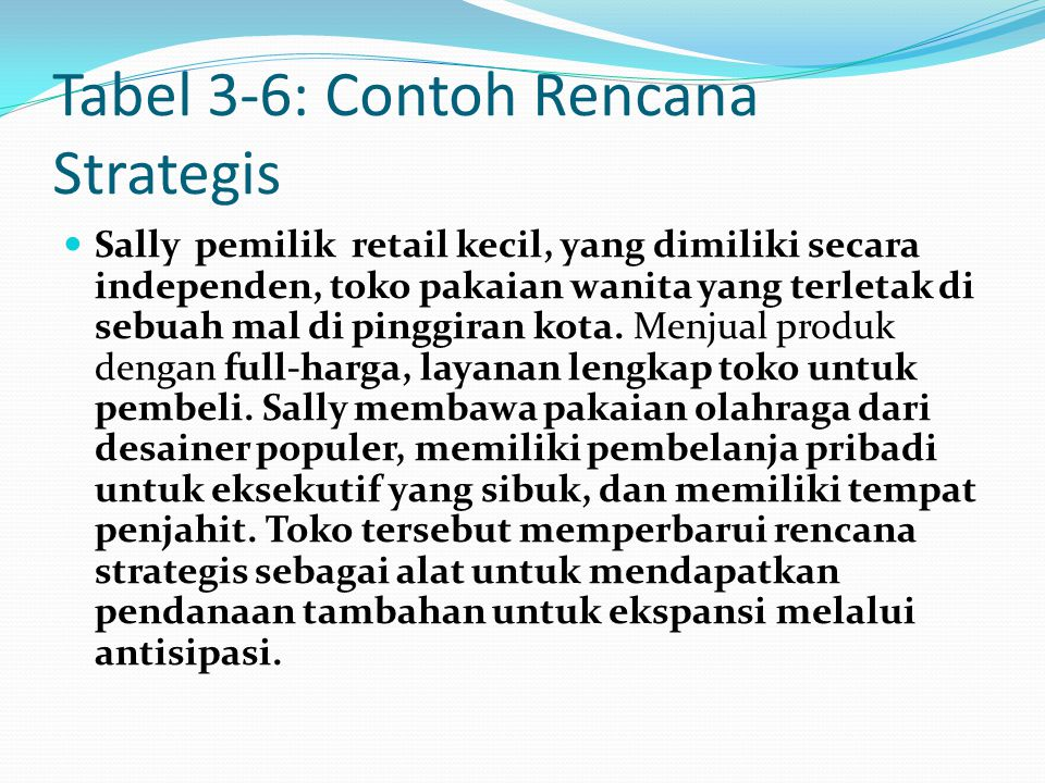 Tabel 3-6: Contoh Rencana Strategis