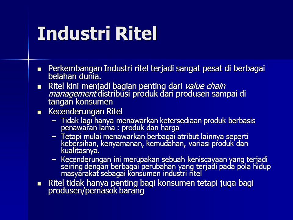 Industri Ritel Perkembangan Industri ritel terjadi sangat pesat di berbagai belahan dunia.