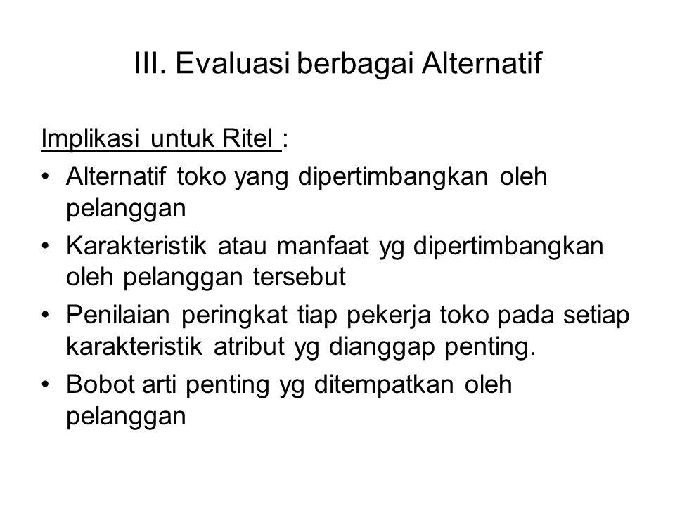 III. Evaluasi berbagai Alternatif