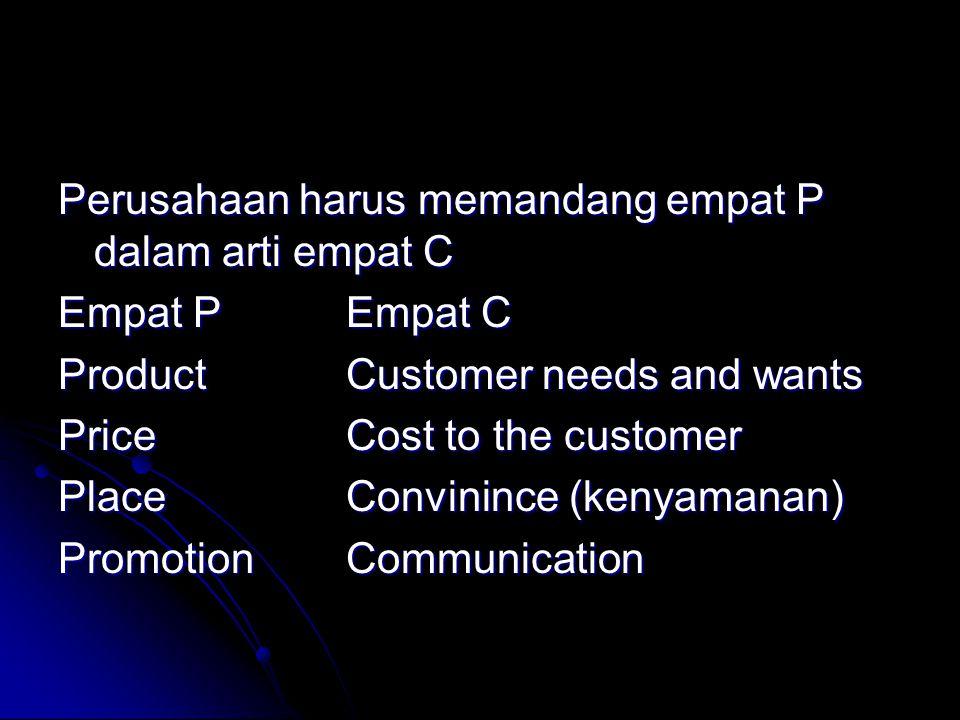 Perusahaan harus memandang empat P dalam arti empat C