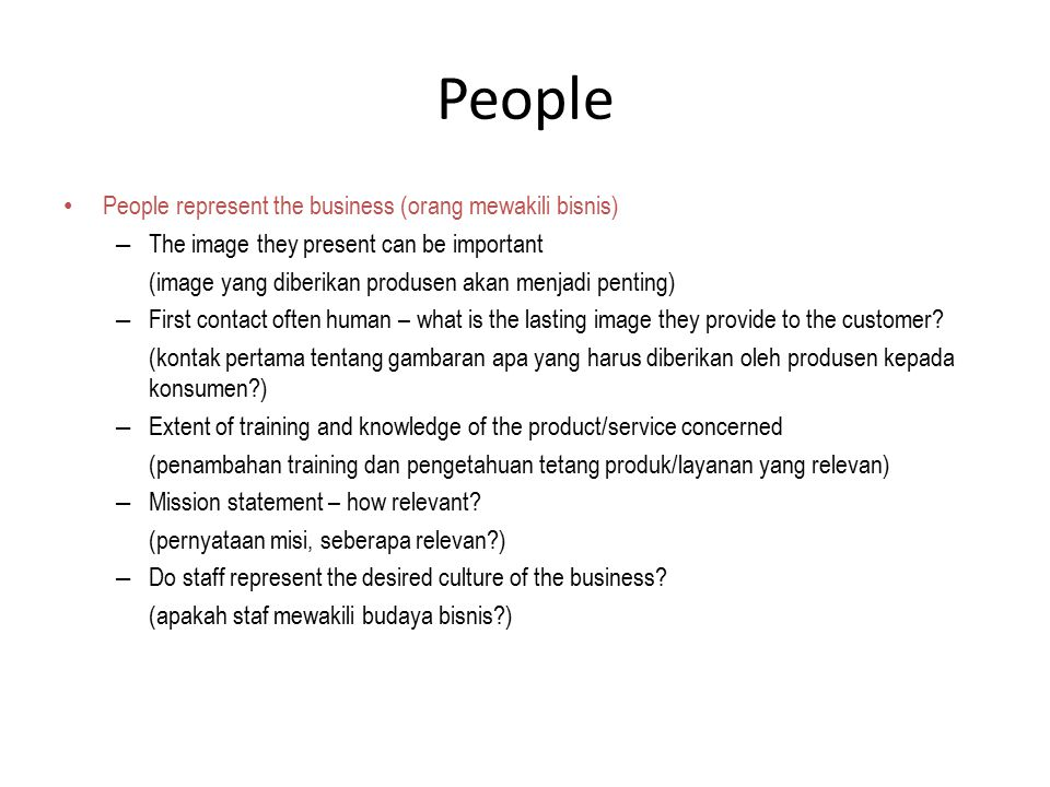 People People represent the business (orang mewakili bisnis)