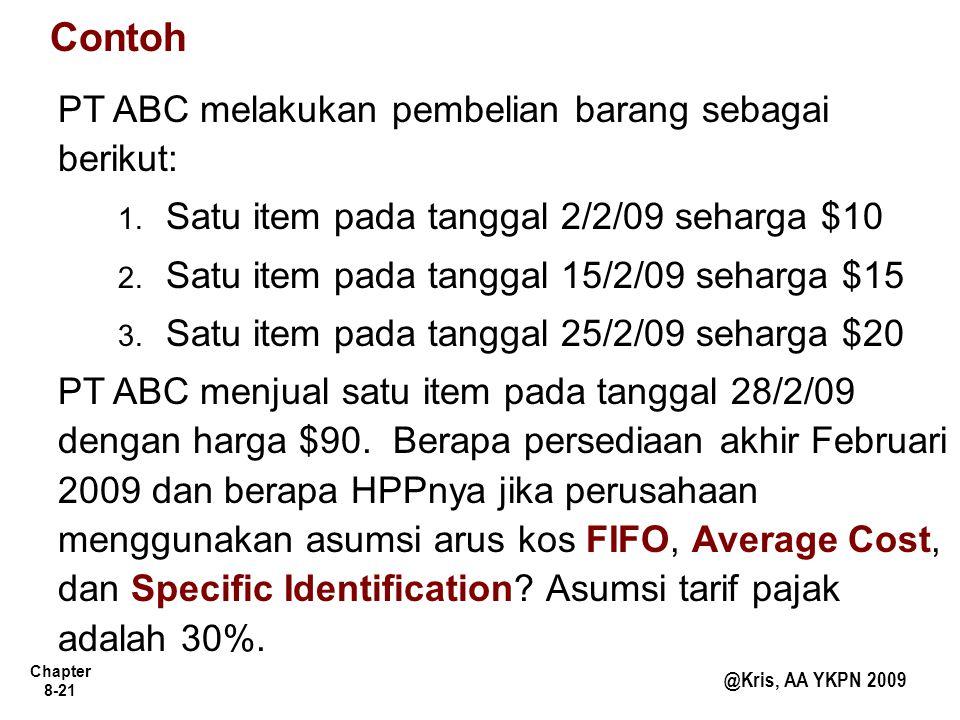 Contoh PT ABC melakukan pembelian barang sebagai berikut: