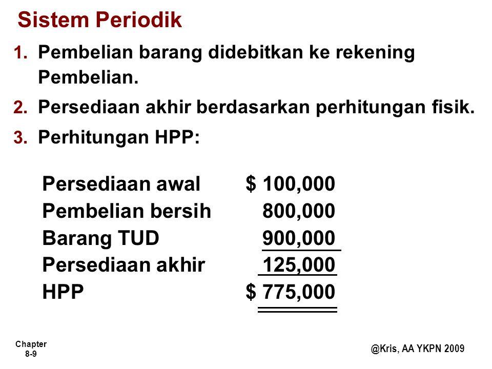 Sistem Periodik Persediaan awal $ 100,000 Pembelian bersih 800,000