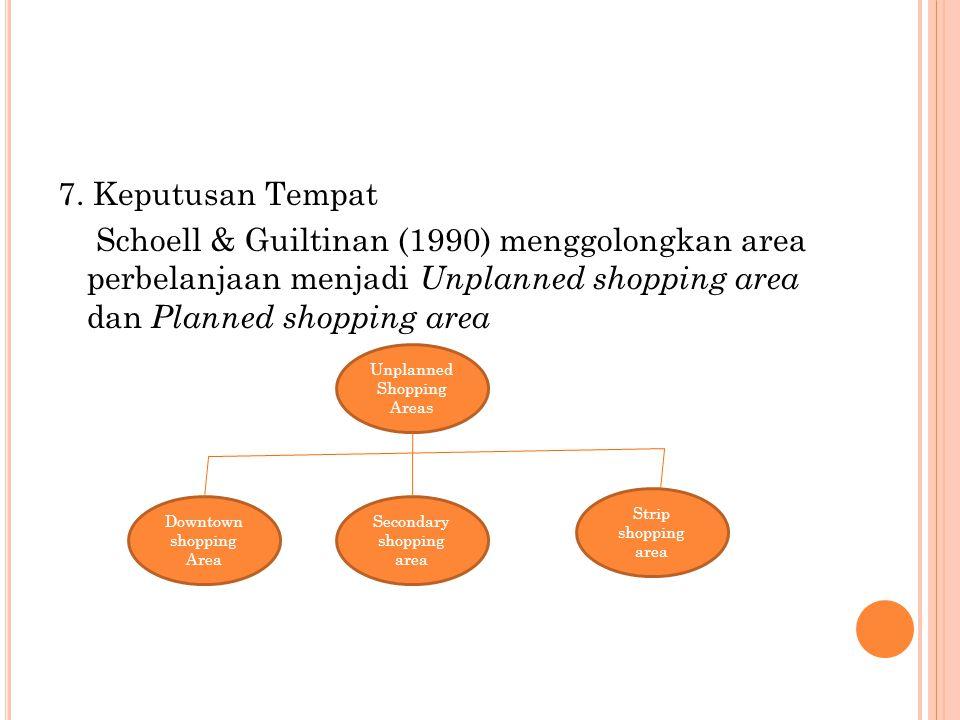 7. Keputusan Tempat Schoell & Guiltinan (1990) menggolongkan area perbelanjaan menjadi Unplanned shopping area dan Planned shopping area