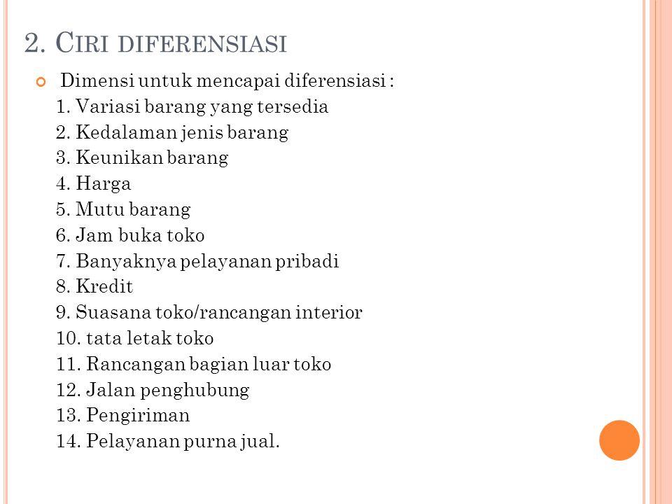 2. Ciri diferensiasi Dimensi untuk mencapai diferensiasi :