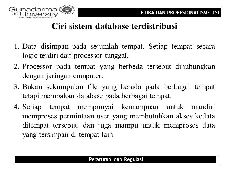 Ciri sistem database terdistribusi