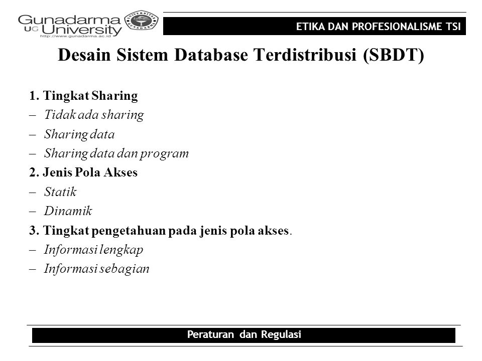 Desain Sistem Database Terdistribusi (SBDT)