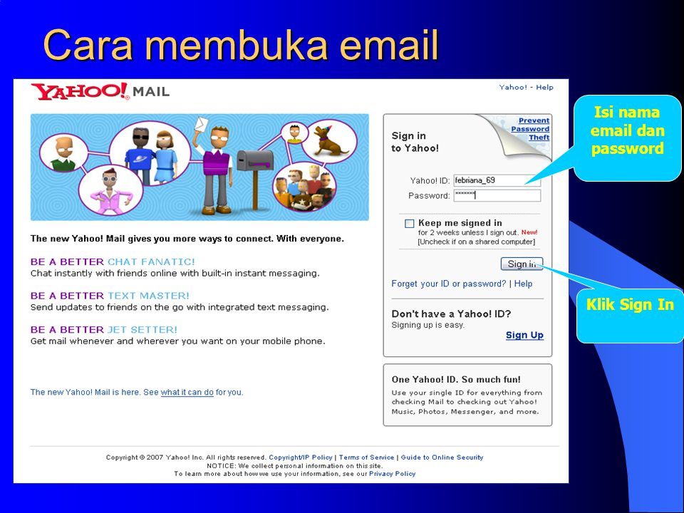 Isi nama email dan password