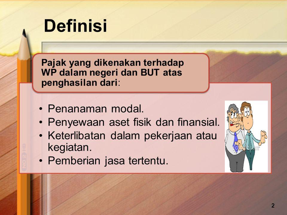 Definisi Penanaman modal. Penyewaan aset fisik dan finansial.