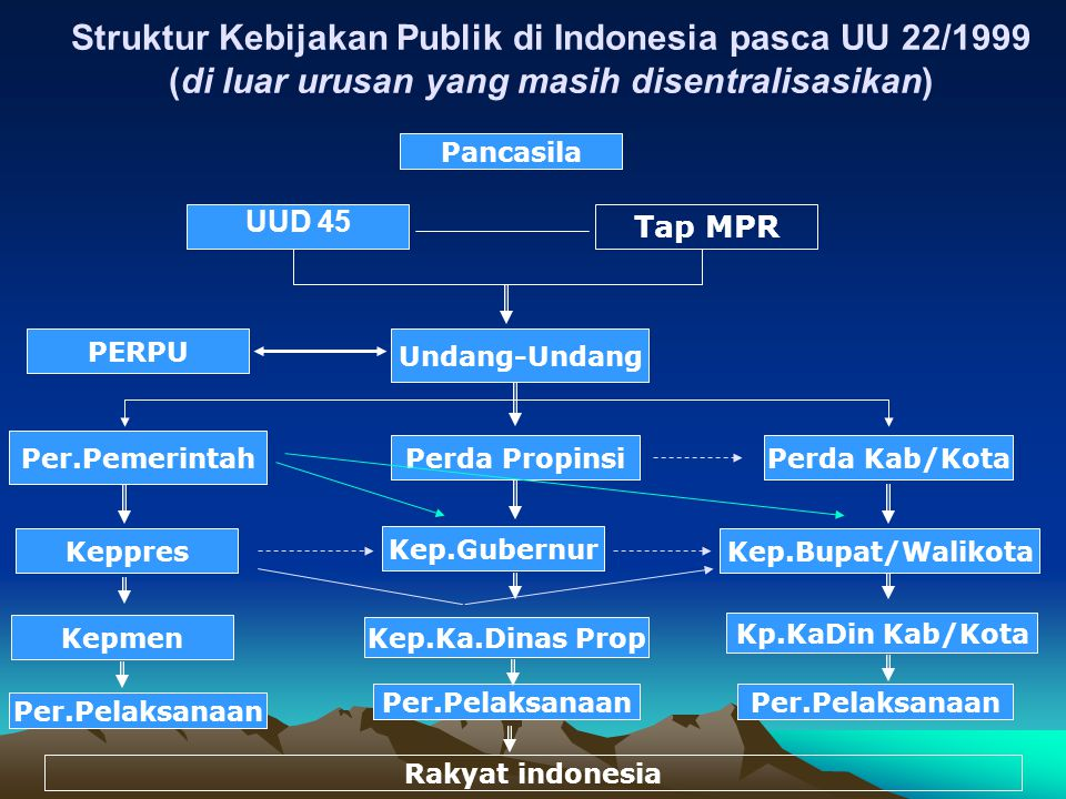 Struktur Kebijakan Publik di Indonesia pasca UU 22/1999 (di luar urusan yang masih disentralisasikan)