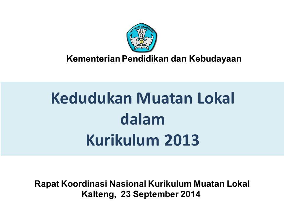 Kedudukan Muatan Lokal dalam Kurikulum 2013