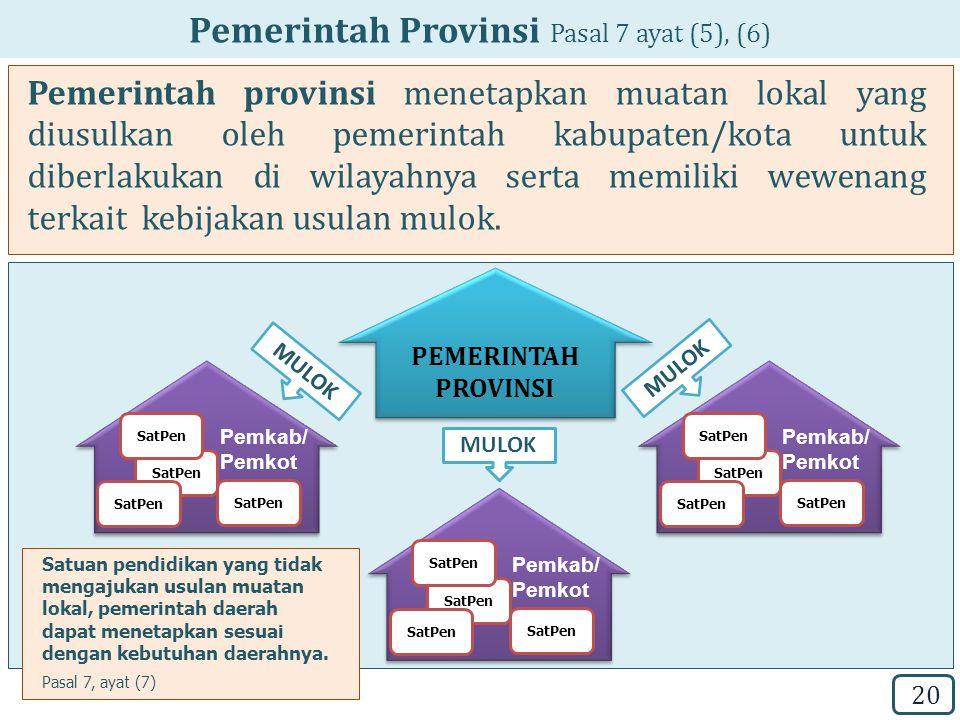 Pemerintah Provinsi Pasal 7 ayat (5), (6)