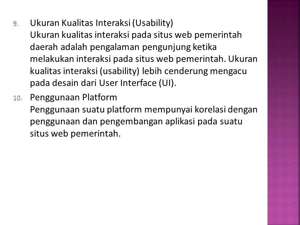 Ukuran Kualitas Interaksi (Usability) Ukuran kualitas interaksi pada situs web pemerintah daerah adalah pengalaman pengunjung ketika melakukan interaksi pada situs web pemerintah. Ukuran kualitas interaksi (usability) lebih cenderung mengacu pada desain dari User Interface (UI).