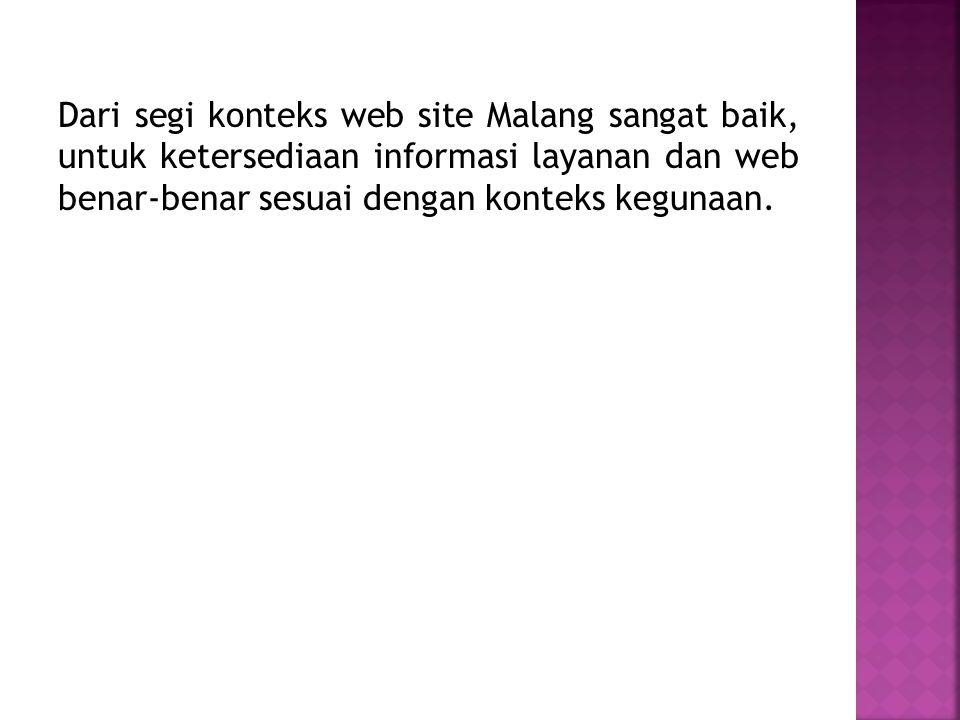 Dari segi konteks web site Malang sangat baik, untuk ketersediaan informasi layanan dan web benar-benar sesuai dengan konteks kegunaan.