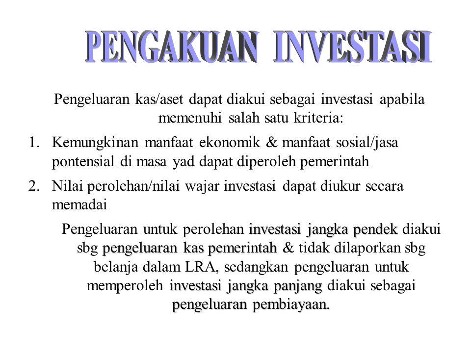 PENGAKUAN INVESTASI. Pengeluaran kas/aset dapat diakui sebagai investasi apabila memenuhi salah satu kriteria: