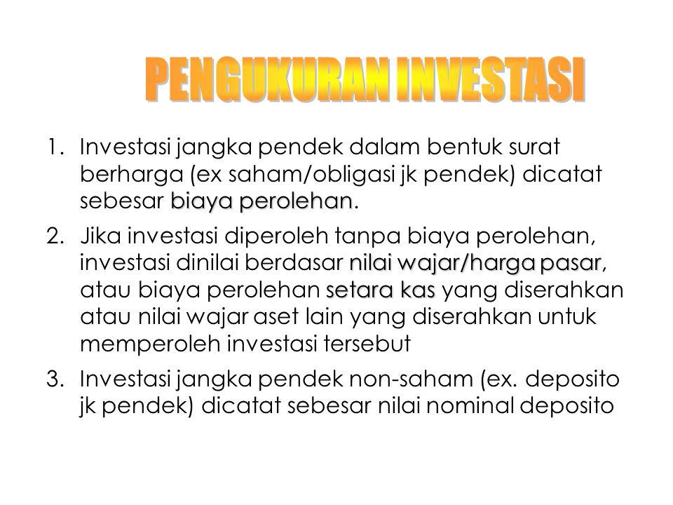 PENGUKURAN INVESTASI Investasi jangka pendek dalam bentuk surat berharga (ex saham/obligasi jk pendek) dicatat sebesar biaya perolehan.