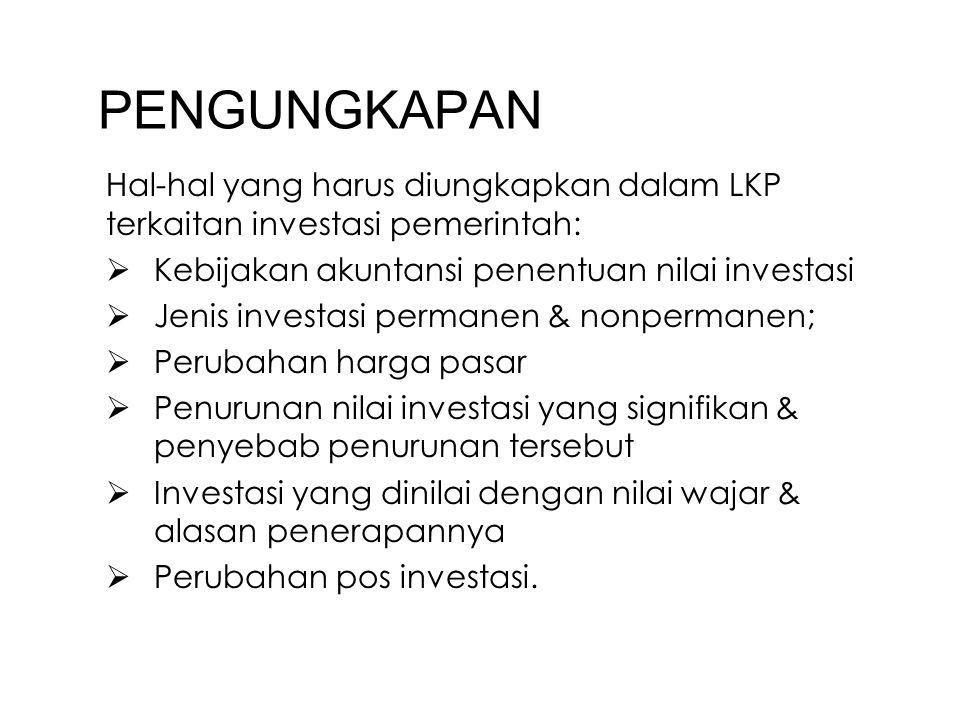 PENGUNGKAPAN Hal-hal yang harus diungkapkan dalam LKP terkaitan investasi pemerintah: Kebijakan akuntansi penentuan nilai investasi.