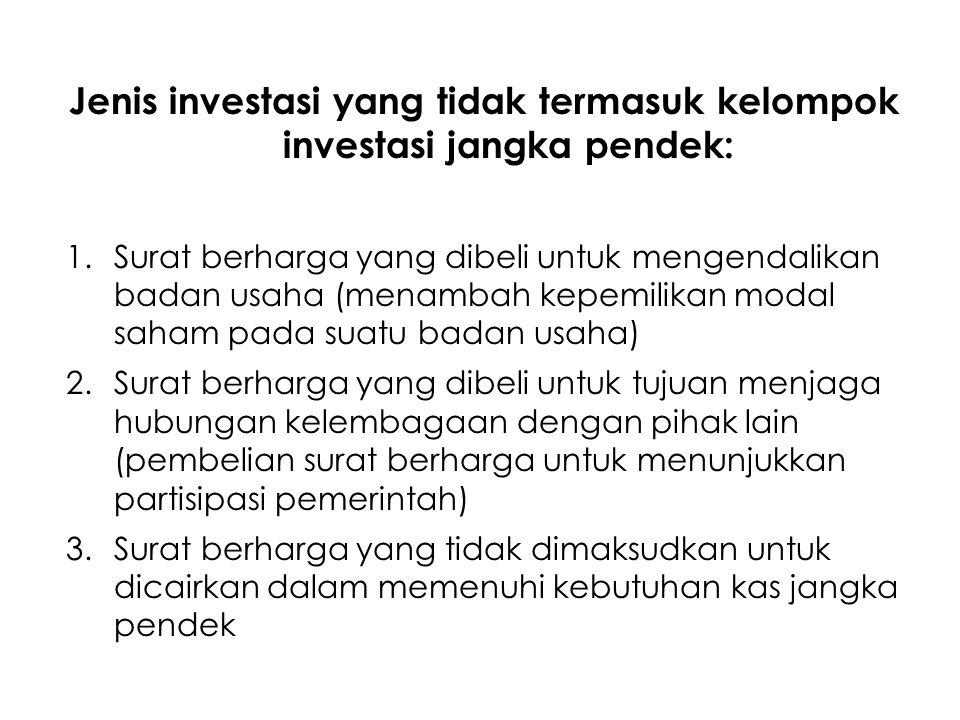 Jenis investasi yang tidak termasuk kelompok investasi jangka pendek:
