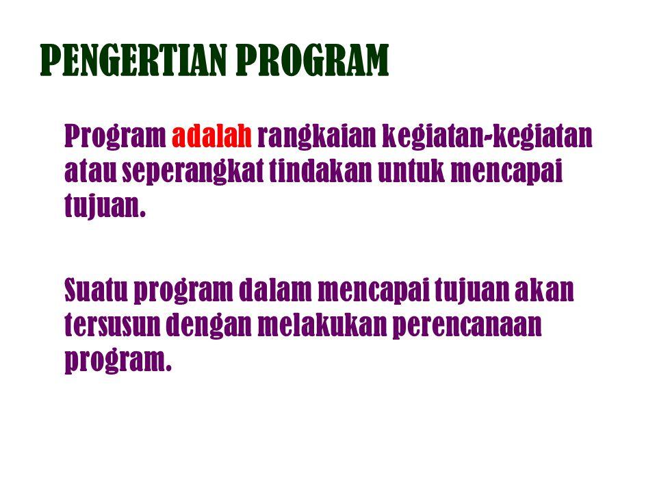 PENGERTIAN PROGRAM Program adalah rangkaian kegiatan-kegiatan atau seperangkat tindakan untuk mencapai tujuan.