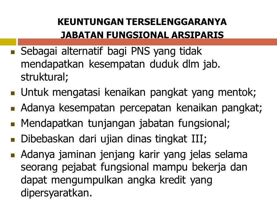 KEUNTUNGAN TERSELENGGARANYA JABATAN FUNGSIONAL ARSIPARIS