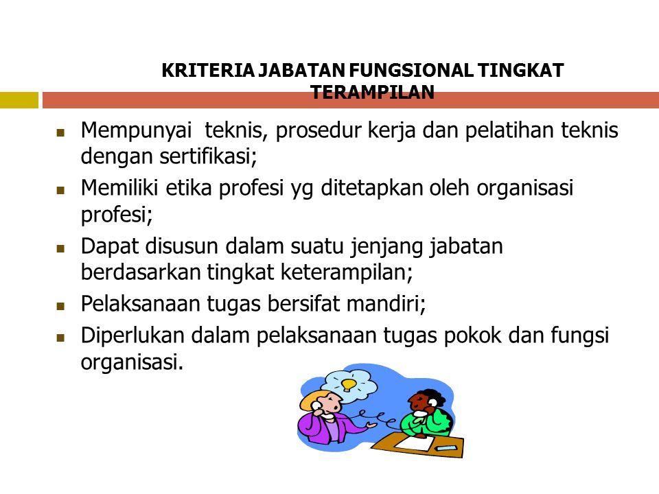 KRITERIA JABATAN FUNGSIONAL TINGKAT TERAMPILAN