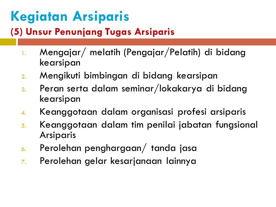 Kegiatan Arsiparis (5) Unsur Penunjang Tugas Arsiparis