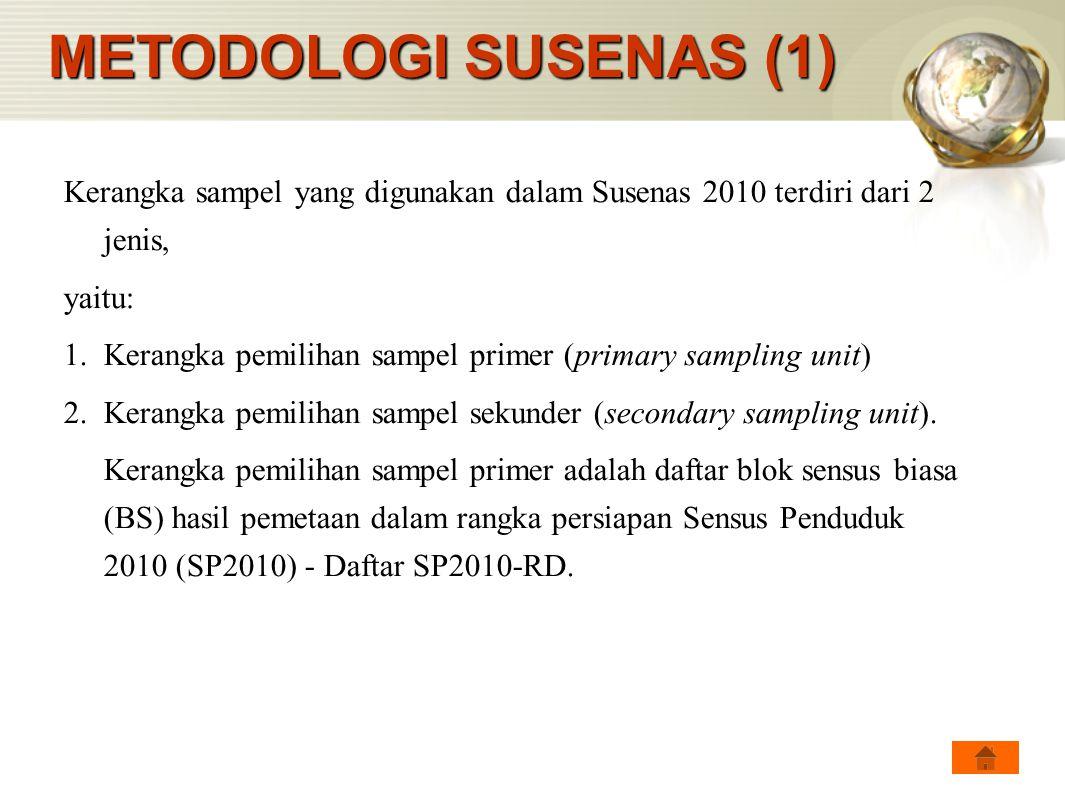 METODOLOGI SUSENAS (1) Kerangka sampel yang digunakan dalam Susenas 2010 terdiri dari 2 jenis, yaitu: