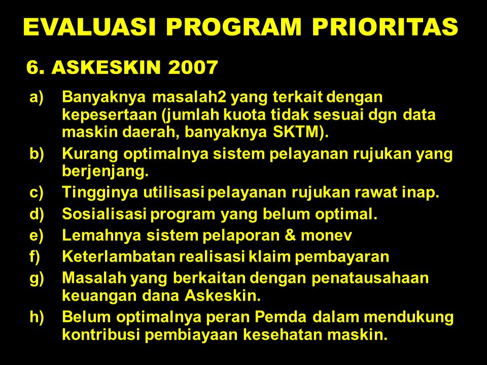 EVALUASI PROGRAM PRIORITAS