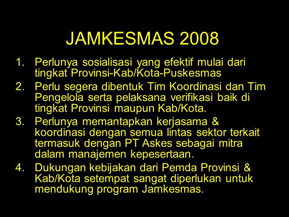 JAMKESMAS 2008 Perlunya sosialisasi yang efektif mulai dari tingkat Provinsi-Kab/Kota-Puskesmas.