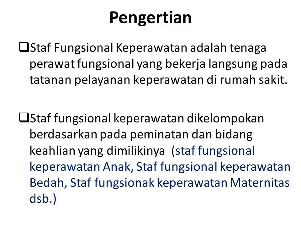 Pengertian Staf Fungsional Keperawatan adalah tenaga perawat fungsional yang bekerja langsung pada tatanan pelayanan keperawatan di rumah sakit.