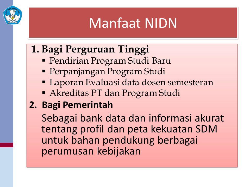 Manfaat NIDN Bagi Perguruan Tinggi. Pendirian Program Studi Baru. Perpanjangan Program Studi. Laporan Evaluasi data dosen semesteran.
