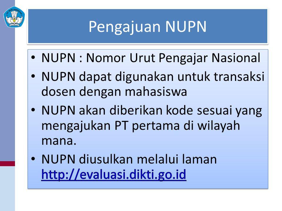 Pengajuan NUPN NUPN : Nomor Urut Pengajar Nasional