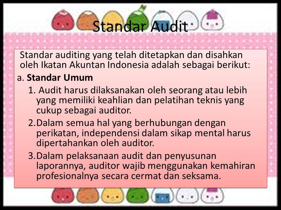 Standar Audit Standar auditing yang telah ditetapkan dan disahkan oleh Ikatan Akuntan Indonesia adalah sebagai berikut: