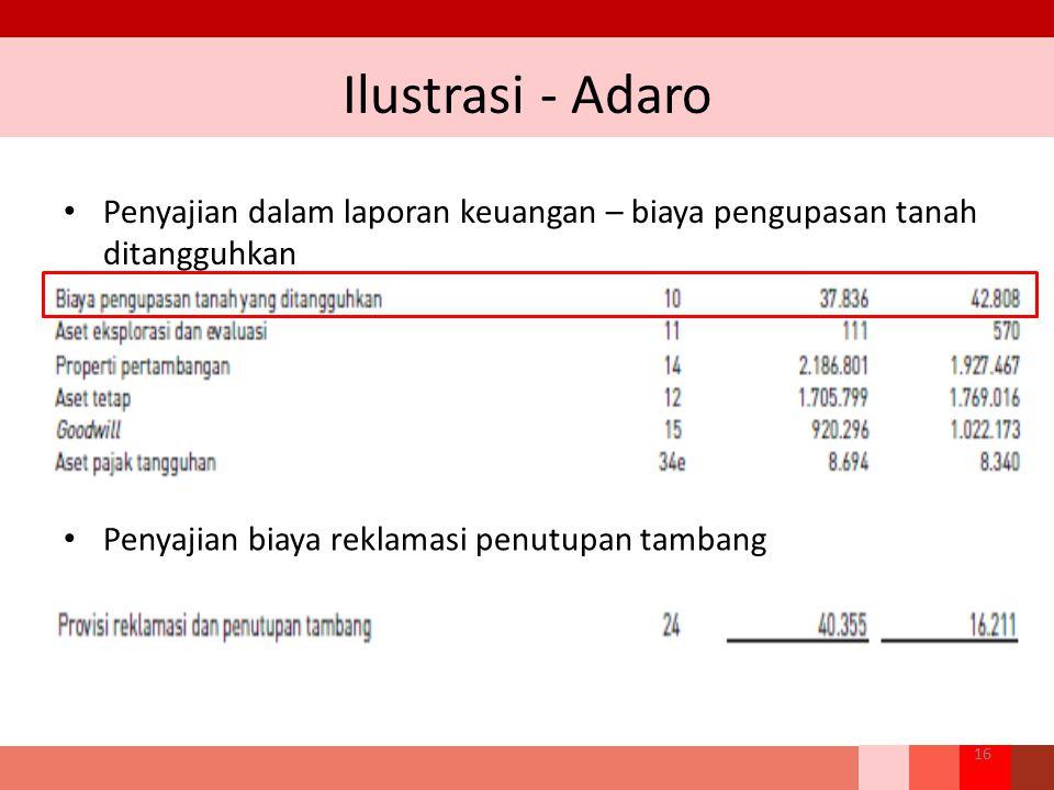 Ilustrasi - Adaro Penyajian dalam laporan keuangan – biaya pengupasan tanah ditangguhkan.