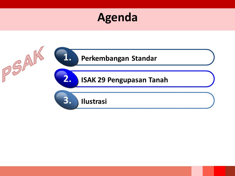 PSAK Agenda 1. 2. 3. Perkembangan Standar ISAK 29 Pengupasan Tanah