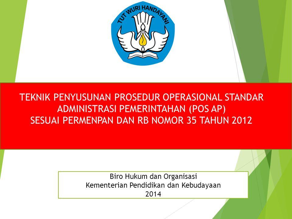 TEKNIK PENYUSUNAN PROSEDUR OPERASIONAL STANDAR ADMINISTRASI PEMERINTAHAN (POS AP) SESUAI PERMENPAN DAN RB NOMOR 35 TAHUN 2012