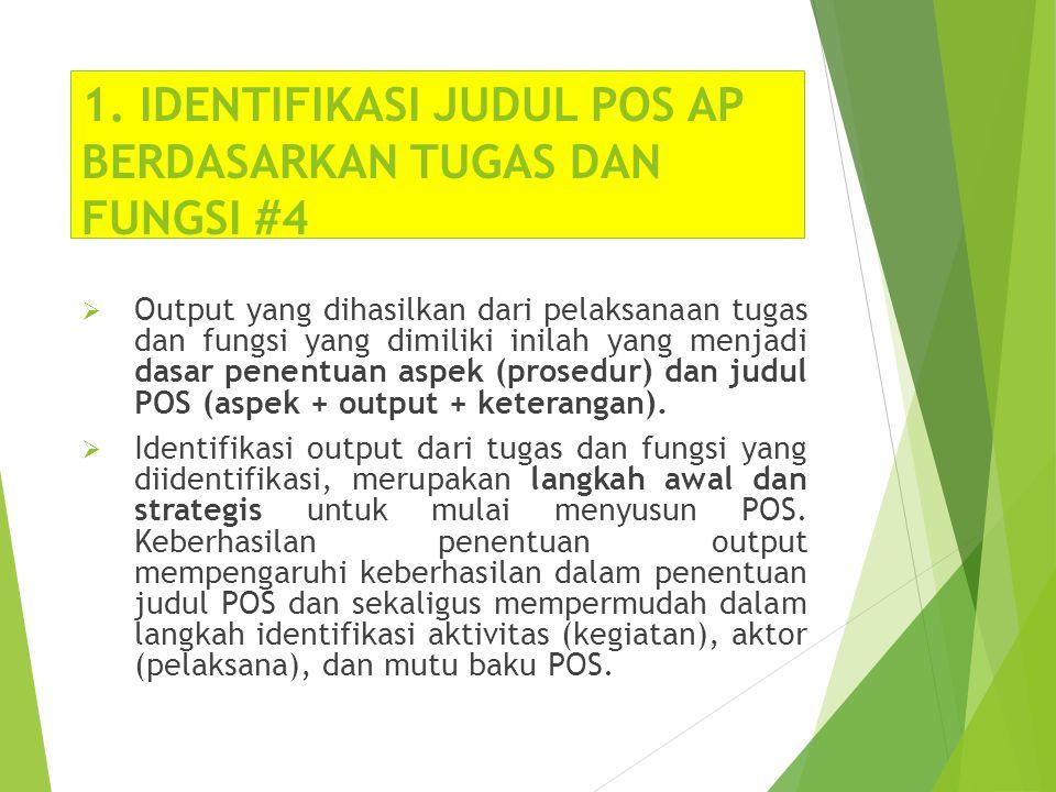 1. IDENTIFIKASI JUDUL POS AP BERDASARKAN TUGAS DAN FUNGSI #4