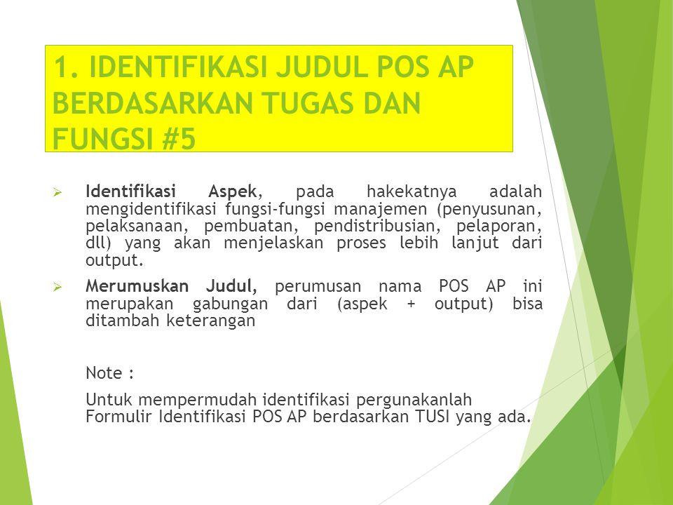 1. IDENTIFIKASI JUDUL POS AP BERDASARKAN TUGAS DAN FUNGSI #5