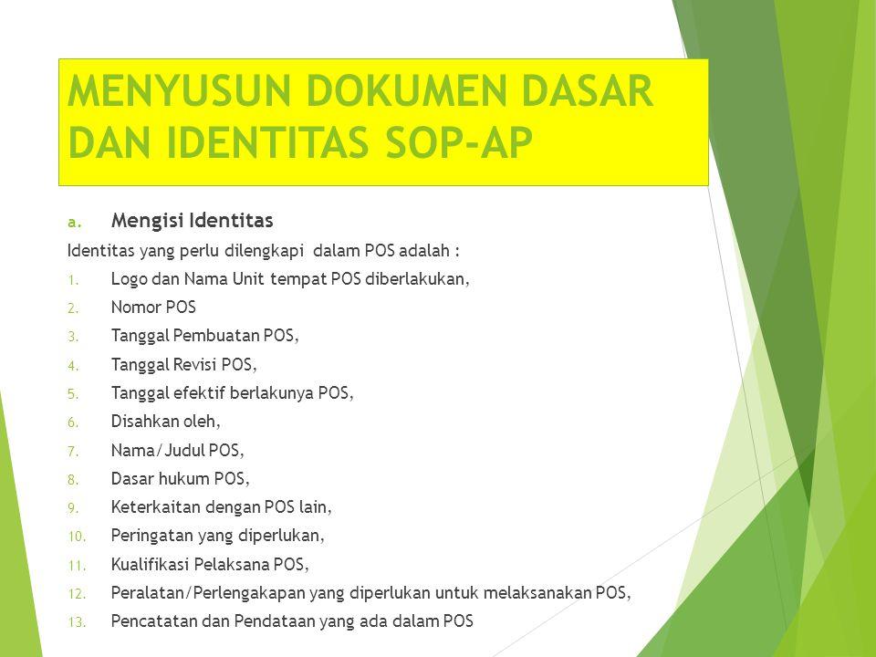 MENYUSUN DOKUMEN DASAR DAN IDENTITAS SOP-AP