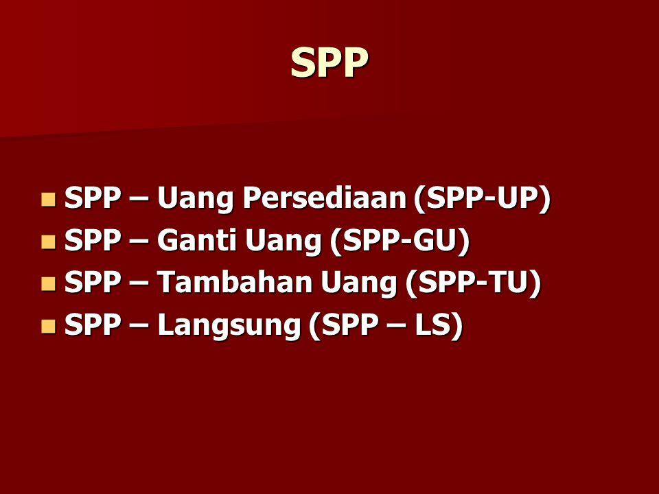 SPP SPP – Uang Persediaan (SPP-UP) SPP – Ganti Uang (SPP-GU)