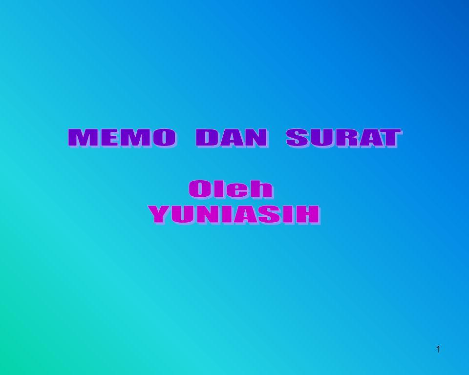 MEMO DAN SURAT Oleh YUNIASIH