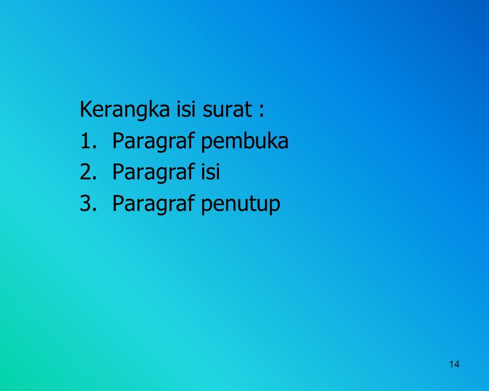 Kerangka isi surat : Paragraf pembuka Paragraf isi Paragraf penutup