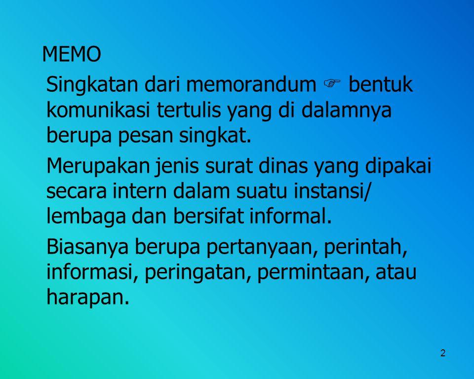 MEMO Singkatan dari memorandum  bentuk komunikasi tertulis yang di dalamnya berupa pesan singkat.