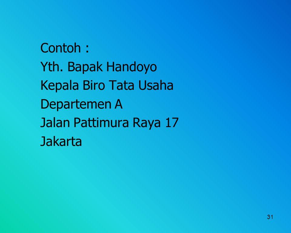 Contoh : Yth. Bapak Handoyo Kepala Biro Tata Usaha Departemen A Jalan Pattimura Raya 17 Jakarta