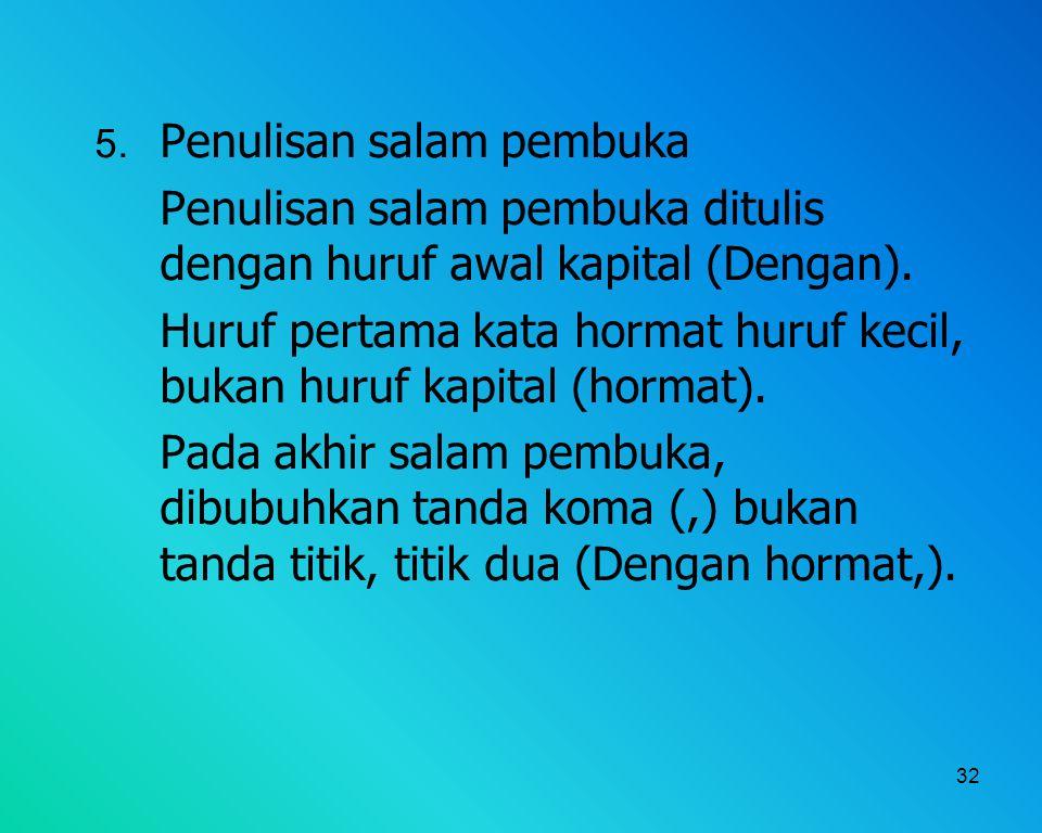 Penulisan salam pembuka ditulis dengan huruf awal kapital (Dengan).