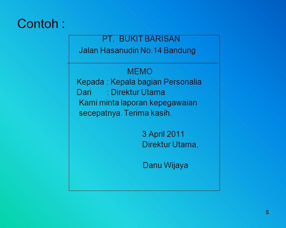 Contoh : PT. BUKIT BARISAN